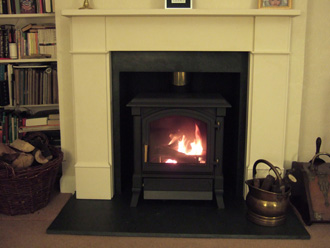 Flat Victorian natural limestone with Harmony 23 multi-fuel stove