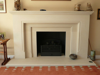 "Canterbury Stone and Marble ""Warwick"" fireplace in French limestone"